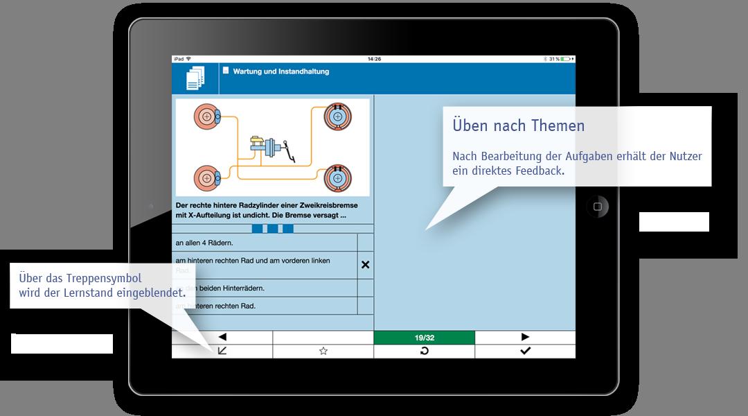 Beispiel Lern-App: fachsystematisches Üben nach Themen