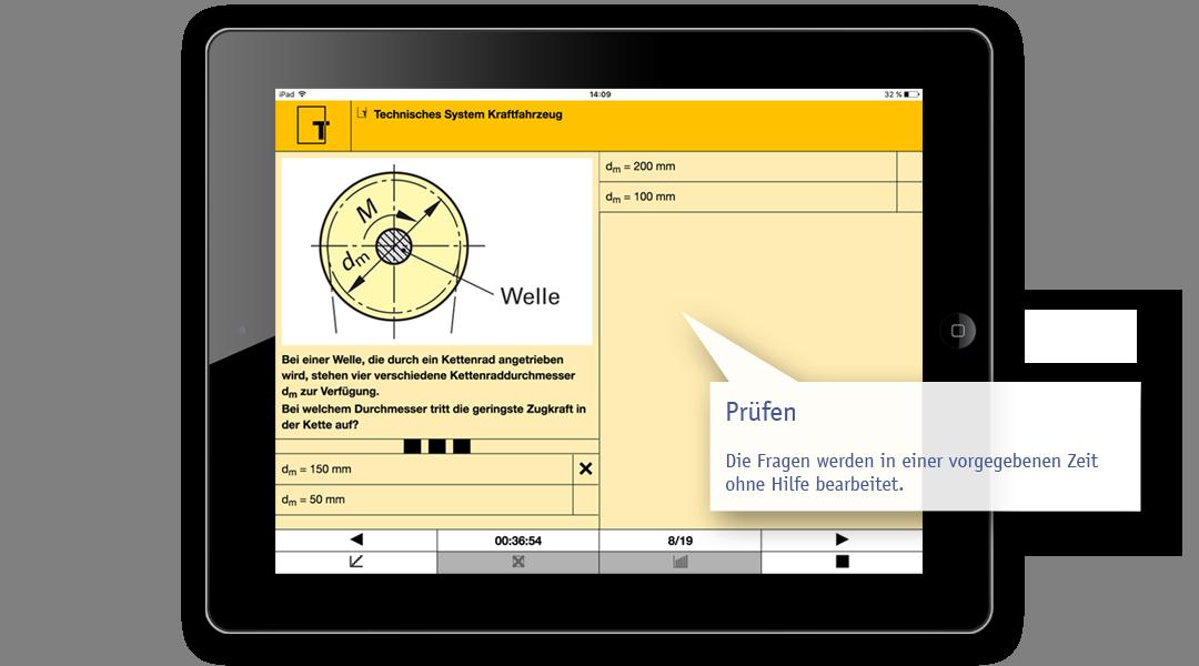 Beispiel Lern-App: Aufgabe im Prüfungsmodul